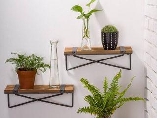 Glitzhome Farmhouse Metal  amp  Wood Wall Shelf   Set of 2