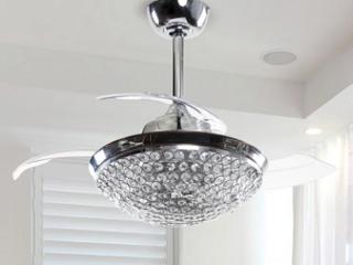 HFAlGR Satin Nickel Crystal Ceiling Fan