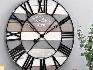 FirsTime   Co  Maritime Farmhouse Planks Wood Clock