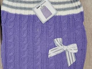 Dog Sweater Medium 17 22  Purple white gray