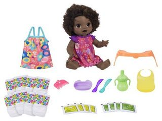 Baby Alive Happy Hungry Baby Black Curly Hair Doll  50  Sounds  Phrases  Eats  Poops  Drinks  Wets  for Kids Ages 3