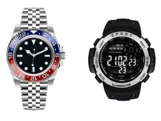 George Dress   Casual Analog Quartz Watch Set   Silver with Blue and Red and Black