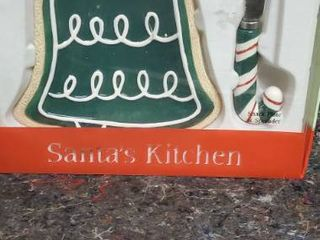 Fitz And Floyd Santas Kitchen Bell Snack Cheese Plate   Candy Cane Spreader