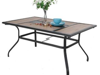 Phi Villa Wood look Patio Dining Table with Umbrella Hole