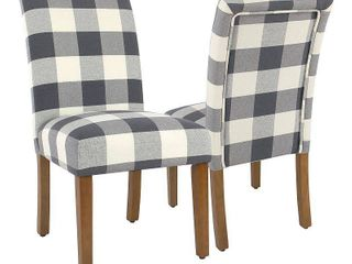 HomePop Parsons Dining Chair   Blue Plaid  set of 2  Retail 199 99