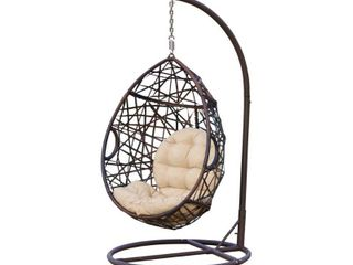 Cayuse Outdoor Wicker Tear Drop Hanging Chair by Christopher Knight Home  Retail 396 49
