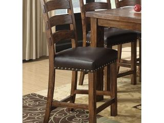 The Gray Barn Misty Day Dark Pine 24 inch Bar Stool with Faux leather Seat  Set of 2  Retail 272 49
