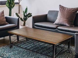 Modern Farmhouse Wood Coffee Table with Metal Storage Shelf Rectangle Table   48x24x18  Retail 203 49