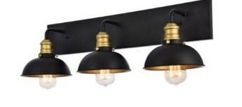 living District lD8004W27BK Anders 3 light 27 inch Black and Brass Wall Sconce Wall light