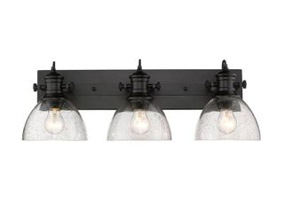 Hines 3 light Bath Vanity in Black with Seeded Glass