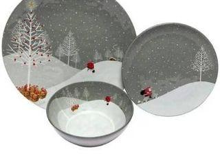 Melange 36 Pcs Melamine Dinnerware Set Santa Comes Home Collection  Dinner Plate  Salad Plate   Soup Bowl 12 Each