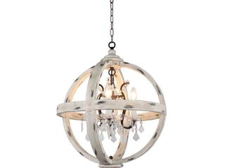 4 light Candle Style Globe Chandelier with Clear glass crystals in withered white wood finish