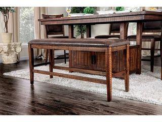 Carbon loft laroche Rustic Walnut Faux leather Counter Bench  Retail 184 99