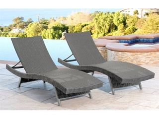 Abbyson Palermo Outdoor Grey Wicker Chaise lounge Retail 440 32