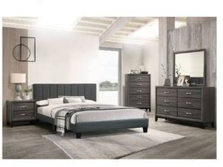 Poundex queen bed Evolve your resting place with a bedframe that speaks volumes with hues of grey and definition  It features a headboard with vertical tufting and a slat mattress support