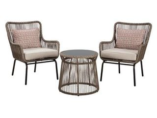 Signature Design by Ashley Cotton Road Outdoor Brown Table and Chairs   Set of 3