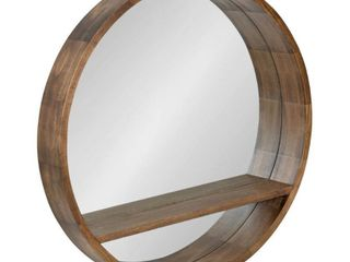 Kate and laurel Hutton Round Mirror with Shelf   Rustic Brown   30  Diameter  Retail 249 99