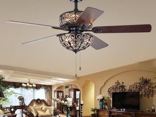 Tisaphon Dual lamp Crystal lighted Fan Chandelier   52 inches Diameter   52 inches Diameter   Matte Black Pull Chain