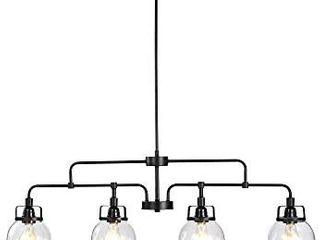 Warehouse of Tiffany HM071Bl 4 Julij 4 light linear Black Glass Bowl lamps Chandelier
