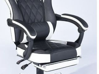 Porch   Den Black Ergonomic Gaming Chair with Footrest and Neck Pillow  Retail 229 99