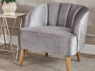 Amaia Modern Velvet Club Chair by Christopher Knight Home   pewter   walnut