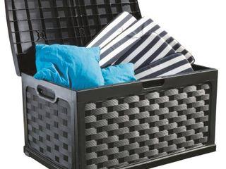 71 Gallon Rattan Deck Box  Black  Retail 78 48