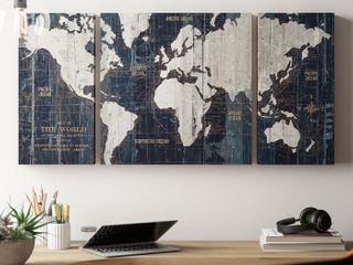 Old World Map Blue  3 Piece Graphic Art Print Set on Wrapped Canvas  Retail 86 99