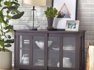 Sliding Tempered Glass Doors Stackable Storage Cabinet  Multiple Colors