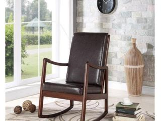 Bella Esprit 70102111 Rocking Chair   Walnut  Solid Wood with Brown Removable Cushions