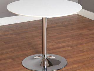 Carson Carrington Klemens Round Dining Table   White Chrome