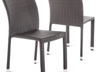 Christopher Knight Home Dover Outdoor Wicker Armless Stacking Chairs with Aluminum Frame  2 Pcs Set  Multibrown