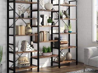 Triple Wide 5 Shelf Bookcase  Etagere large Open Bookshelf   Brown