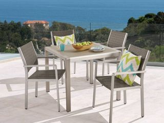 Cape Coral Outdoor 4 Seater Aluminum Dining chair Set by Christopher Knight Home  Retail 654 99