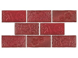 SomerTile 3x6 inch Antiguo Feelings Red Moon Ceramic Wall Tile  8 tiles 1 sqft