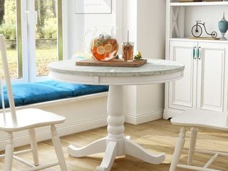 Furniture of America Ten Country White 42 inch Round Dining Table  Retail 474 52table top only
