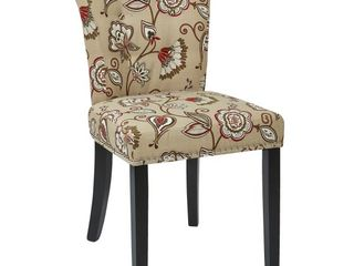 Ave Six Kendal Tufted and Inner Spring Chair with Nailhead Detail and Solid Wood legs  Avignon Bisque Fabric