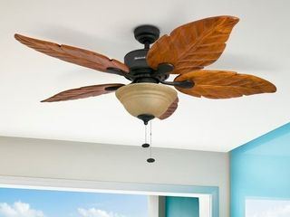 Honeywell Sabal Palm Tropical Ceiling Fan w  Sunset Bowl light  Five Hand Carved Wooden leaf Blades  Bronze   52 inch