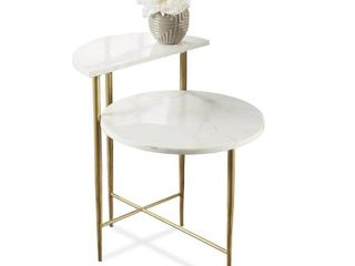 Silver Orchid Parkes White Marble Top Accent Table  Retail 207 49