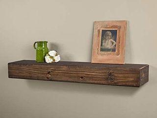 Dakota Rustic Pine Wood Fireplace Mantel Shelf  48 Inch  Mocha