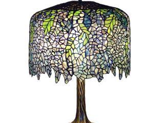 Serena d italia Tiffany 3 light Wisteria 27 in  Table lamp with Tree Trunk Base