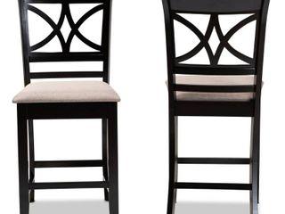 Set of 2 Chandler Pub Chair Sand Espresso   Baxton Studio