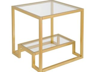 Athena Geometric Glam Side Table in Gold