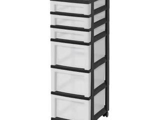 IRIS 6 Drawer Storage Cart with Organizer Top Black Pearl