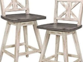 Homelegance Amsonia 24  Swivel Bar Counter Height Chair Stool  2 Pack