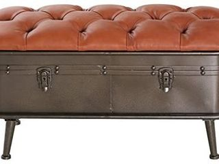 River of Goods 16372 Faux leather   Distressed Metal Storage Bench  Brown