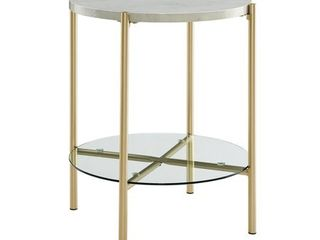 20 inch Round Side Table with White Faux Marble and Gold legs
