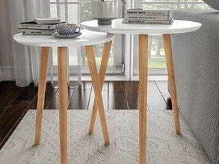Home Decor Accent Table With Circular Top White  Set Of 2