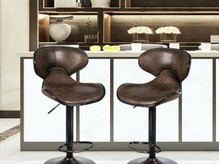 Alpha Home Bar Stools Counter Height Adjustable Swivel Bar Chair Set Of 2  Brown