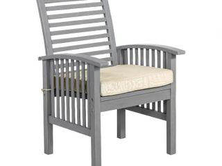 Acacia Wood Patio Chairs with Cushions Set of 2   Grey Wash