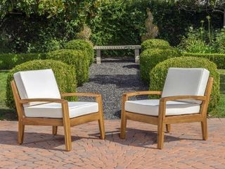 Sherwood Outdoor Acacia Club Chair with Cushion by Christopher Knight Home  Retail 373 49